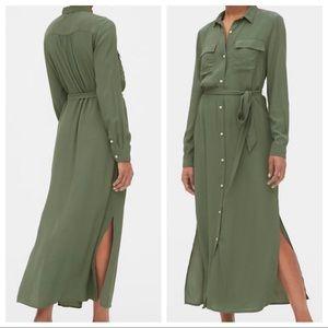 NWT GAP | Olive Maxi Shirt Dress